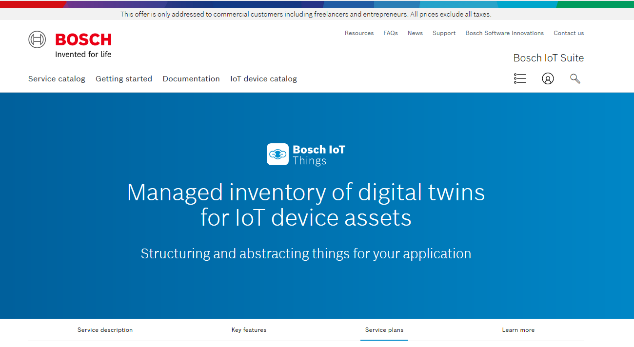 Bosch IoT Things service subscription
