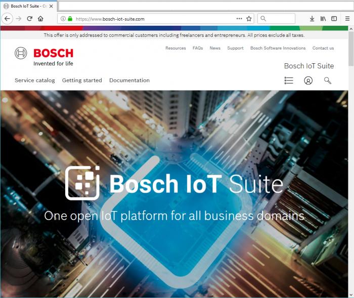 Bosch IoT Suite portal